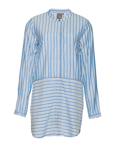 Ichi Clementine Striped Shirt-BLUE-X-Small
