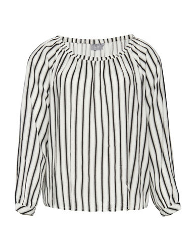 B. Young Hines Striped Blouse-WHITE MULTI-40