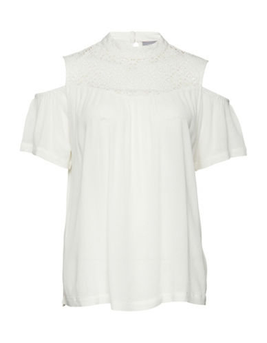 B. Young Gelio Cold-Shoulder Blouse-WHITE-40