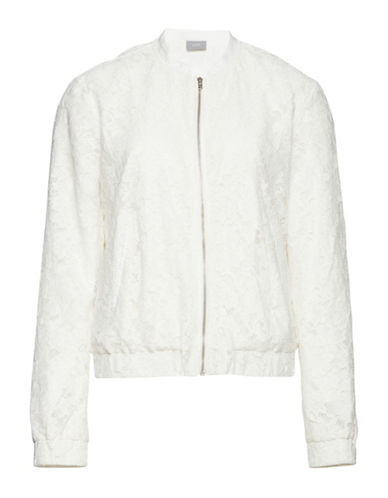 B. Young Flace Zip-Lace Bomber Jacket-WHITE-34