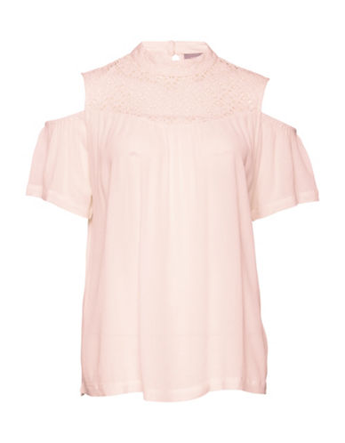 B. Young Gelio Cold-Shoulder Blouse-PINK-36
