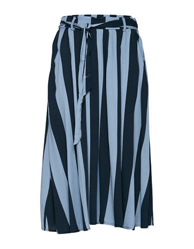 Ichi Delia Stripe Midi Skirt with Belt-MULTI-36
