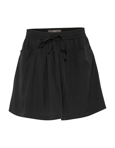 Ichi Binoli Lace Trim Shorts-BLACK-Large