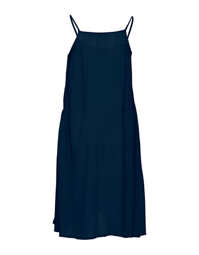 Ichi Marrakech Trapeze Midi Dress-NAVY-X-Small