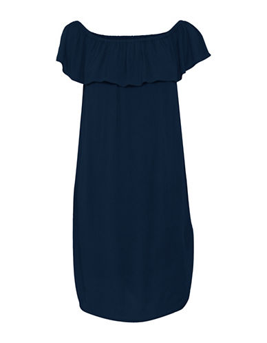 Ichi Marrakech Ruffle Dress-NAVY-X-Small