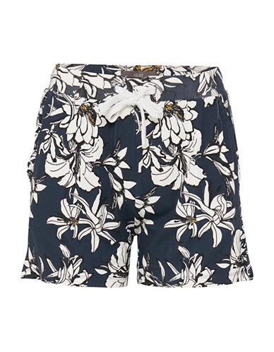 Ichi Lisa Floral Shorts-BLACK-X-Small