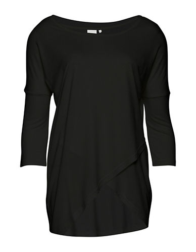 Ichi Jacrobi Three-Quarter Sleeve Top-BLACK-Small 89175217_BLACK_Small