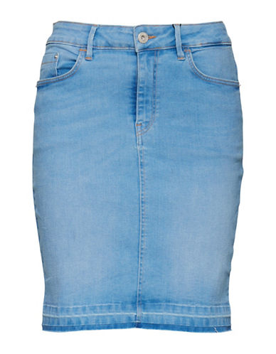 Ichi Izaro Spring Blue Five-Pocket Denim Skirt-BLUE-38