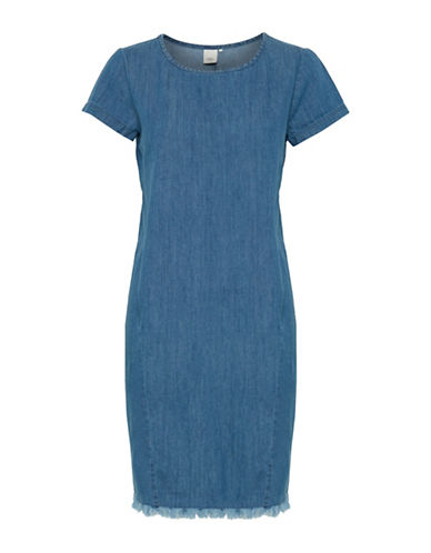Ichi Caprice Faded Denim Sheath Dress-BLUE-38