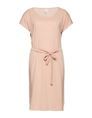 Ichi Moto Self-Tie T-Shirt Dress-PINK-Small