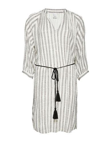Ichi Herringbone Print Drawstring Dress-ASSORTED-X-Small