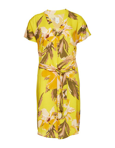 Ichi Choosen Floral-Print Dress-YELLOW-Small
