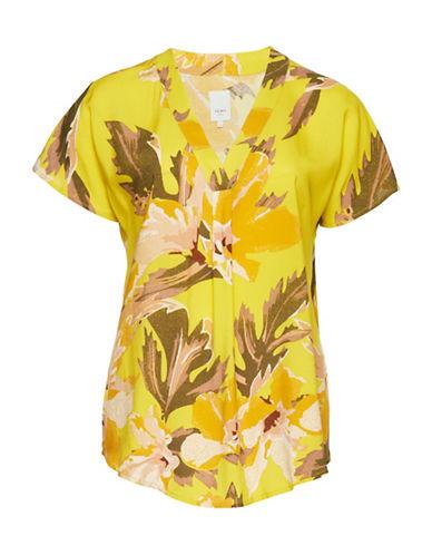 Ichi Choosen Floral-Print Blouse-YELLOW-Medium