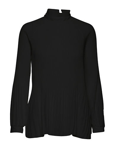 Ichi Lara Pleated Blouse-BLACK-Large