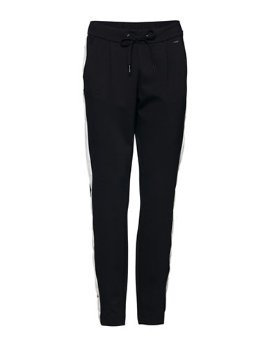 B. Young Rizetta Striped Pants-BLACK-Small