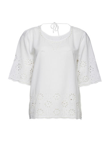 B. Young Hillio Floral Cut-Out Top-WHITE-40