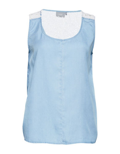 B. Young Harimo Crochet-Accented Top-BLUE-34