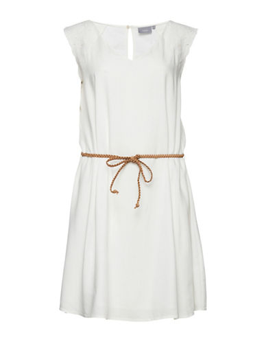 B. Young Braided Drawstring Dress-WHITE-42