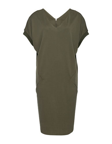 B. Young Zippered T-Shirt Dress-GREEN-Small