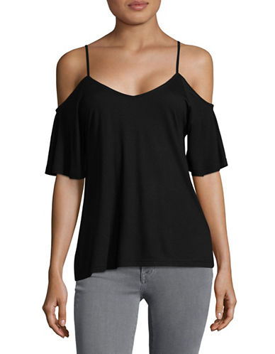 B. Young Smila Cold-Shoulder Top-BLACK-X-Small