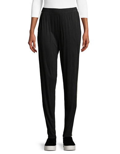 B. Young Smila Stripe Sweatpants-BLACK-Large