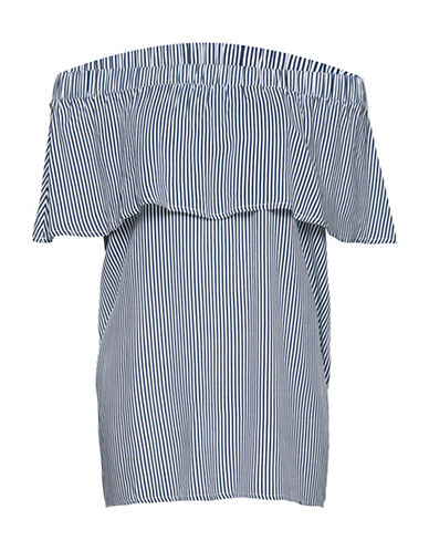 B. Young Habio Striped Blouse-BLUE-40