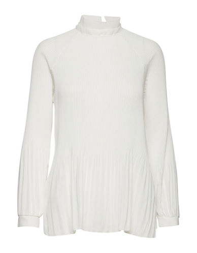 Ichi Lara Pleated Blouse-WHITE-Small