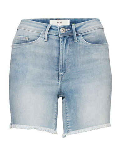 Ichi Ginoz Denim Shorts-BLUE-38