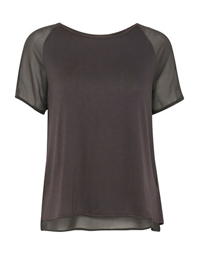Ichi Luzza Split-Back Layered Tee-BLACK-Medium
