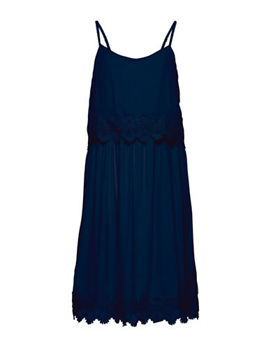 B. Young Juta Popover Lace Trim Dress-BLUE-42