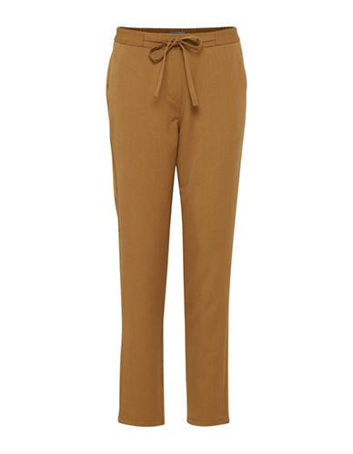 Ichi Simona Straight Pants-BROWN-X-Small