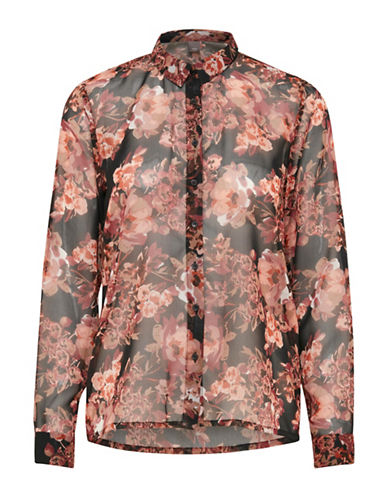 Ichi Afton Floral Blouse-BLACK-Small