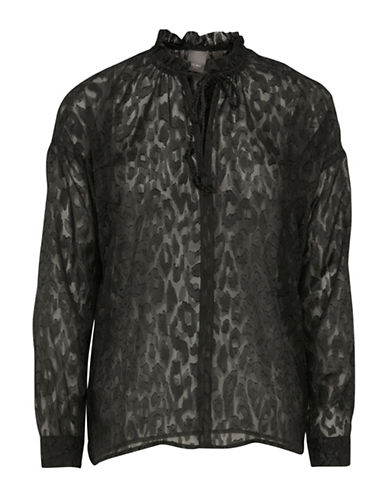 Ichi Chen Cheetah Sheer Blouse-BLACK-Large