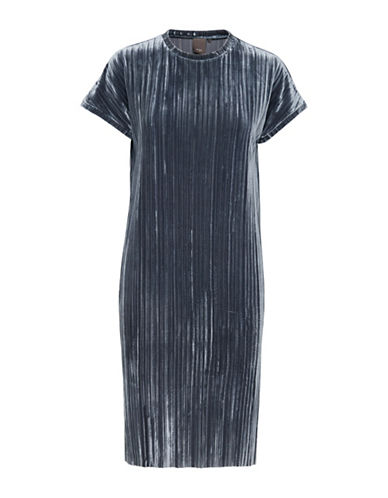 Ichi Line Velour Shift Dress-BLUE-X-Small