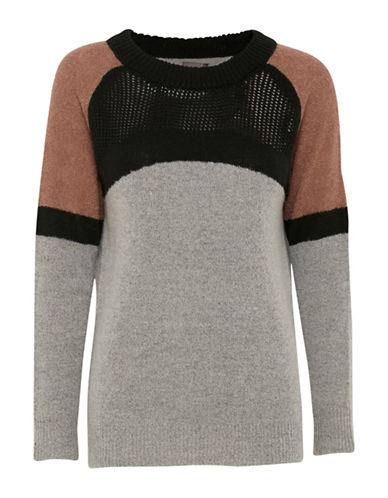 Ichi Wool-Blend Colourblock Pullover-GREY-Medium