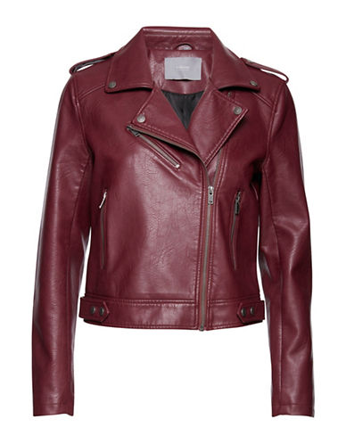 B. Young Apia Faux Leather Moto Jacket-RED-38
