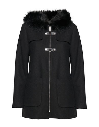 B. Young Boria Faux Fur-Trimmed Coat-BLACK-34