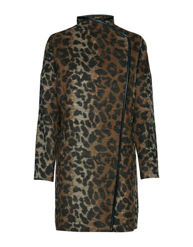 B. Young Amoura Animal Print Long Jacket-ASSORTED-38