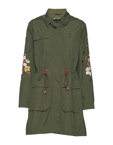 B. Young Ciola Floral Detail Parka Coat-GREEN-38