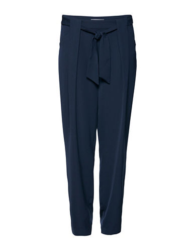B. Young Edno Waisted Bow Pants-BLUE-40