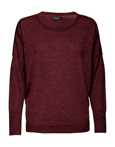 B. Young Merina Oversized Merino Wool Sweatshirt-RED-Large