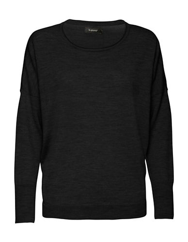 B. Young Merina Oversized Merino Wool Sweatshirt-BLACK-Small