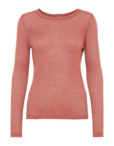 Ichi Open-Knit Sweater-BEIGE-X-Small