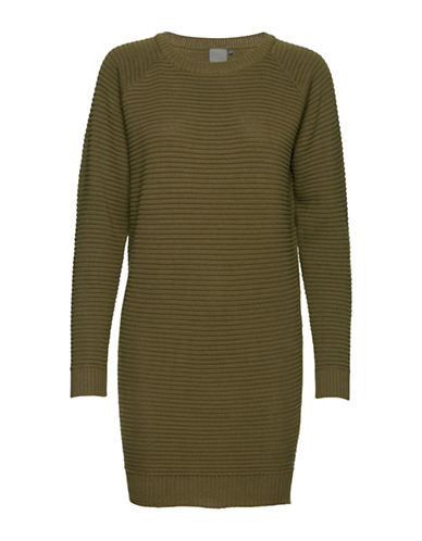 Ichi Ribbed Sweater Dress-GREEN-X-Small 89544741_GREEN_X-Small