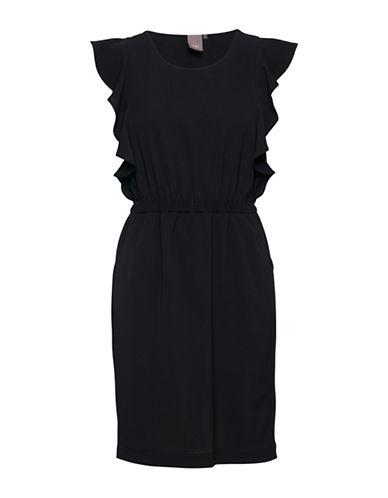 Ichi Ruffled Accent Sheath Dress-BLACK-Large