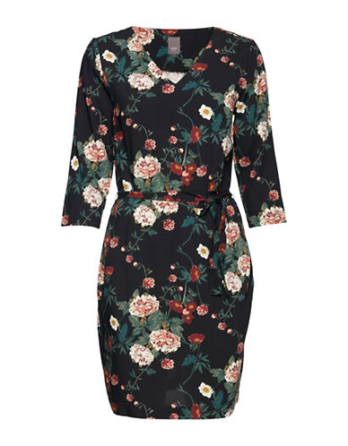 Ichi Floral Sheath Dress-BLACK MULTI-Medium