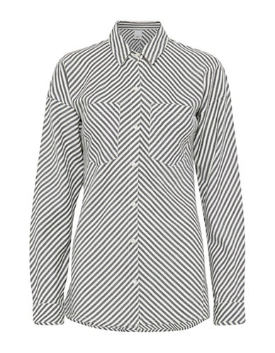 Ichi Asymmetrical Striped Sport Shirt-BLACK-Medium