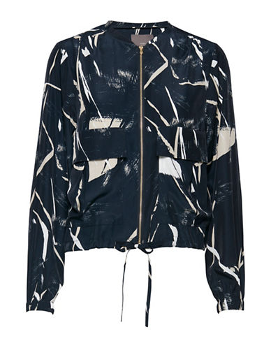Ichi Grunge Print Jacket-BLUE-Small