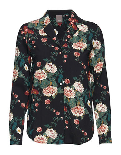 Ichi Floral Sport shirt-BLACK-Medium