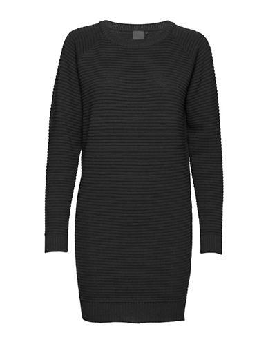 Ichi Ribbed Sweater Dress-BLACK-Small